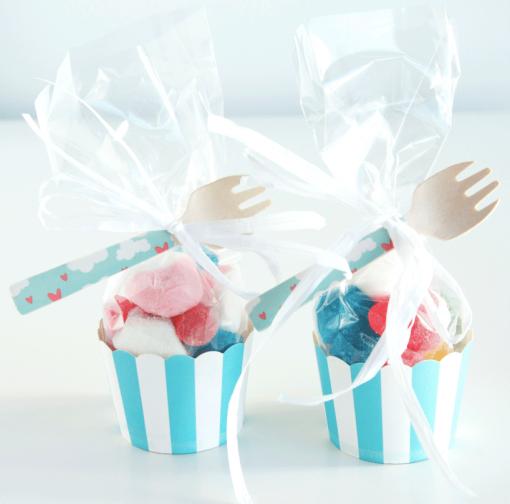 Cupcakes de gominolas de rayas azules de Deliciosso.es