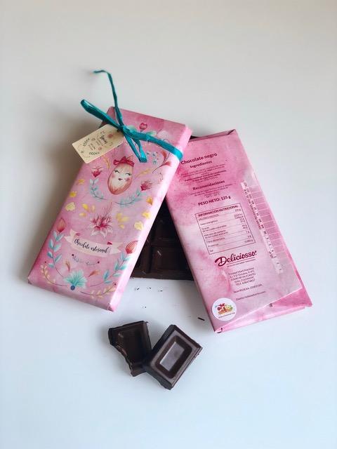 Tableta de Chocolate 50% Cacao Gourmet Envoltorio Rosa | Deliciosso
