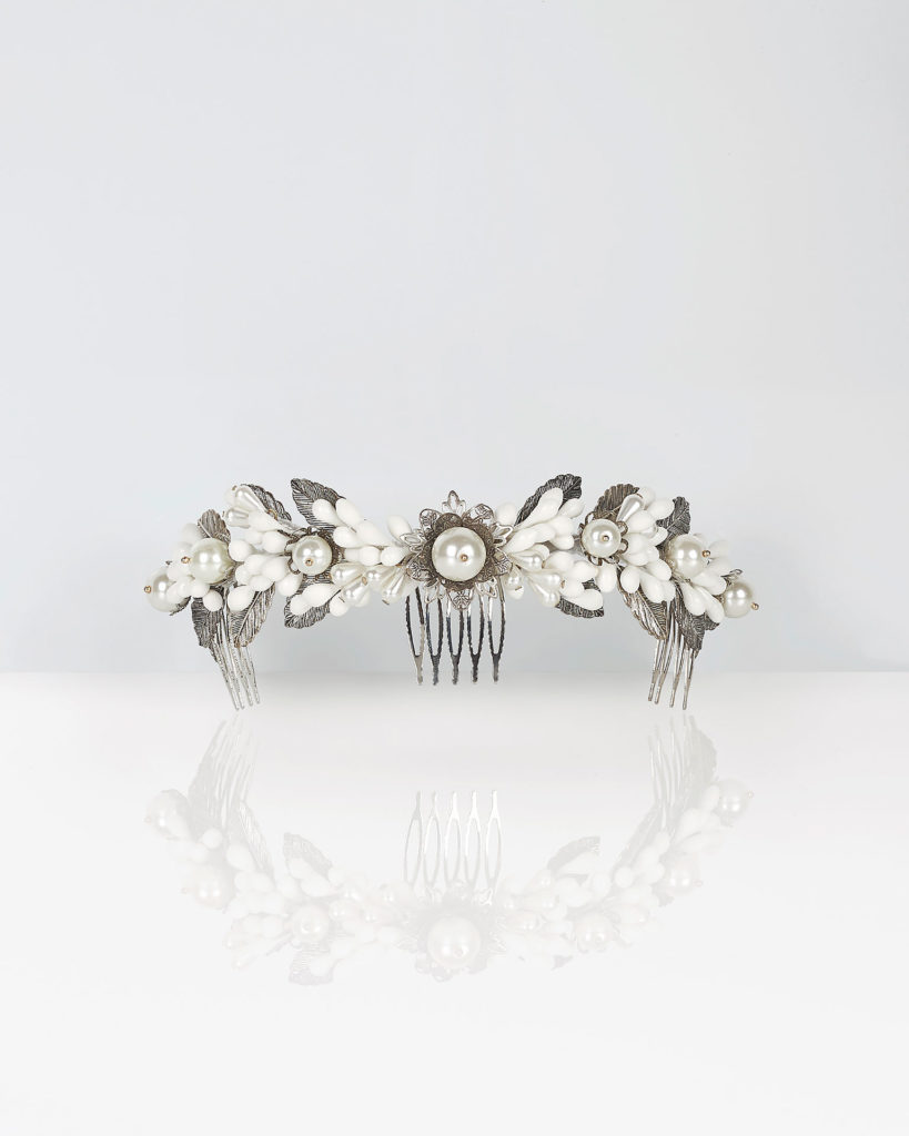 Tocado perlas para novia